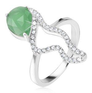 Pierścionek ze srebra 925 - zielony kamień łezka, cyrkoniowa pofalowana linia - Rozmiar : 51