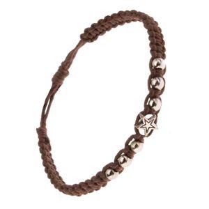 Pleciona bransoletka z kasztanowo brązowych sznurków, kulki i gwiazda