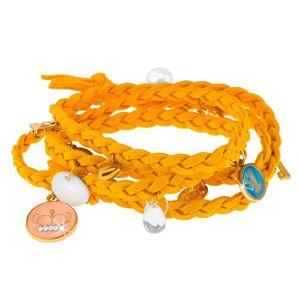 Pleciona bransoletka żółtego koloru, drobne zawieszki różnych kształtów i kolorów