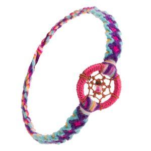 Pleciona wzorzysta bransoletka, okrągła zawieszka, pajęczynka z nici z koralikiem
