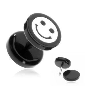 Plug do ucha z akrylu - uśmieszek na czarnym kółku