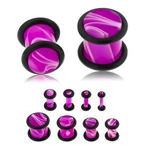 Plug do ucha z akrylu fioletowego koloru, biały marmurowy wzór, dwie gumeczki - Szerokość: 2 mm
