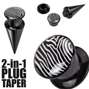 Plug i taper - czarny, zebra - Szerokość: 19 mm