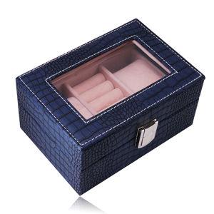 Prostokątne pudełko na biżuterię w ciemnoniebieskim kolorze - imitacja skóry krokodyla, klamra