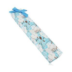 Pudełeczko prezentowe na łańcuszek lub bransoletkę - hibiskus, niebieska kokardka