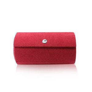 Pudełko na biżuterię w kolorze czerwonym - kształt walca, trzy przegrody