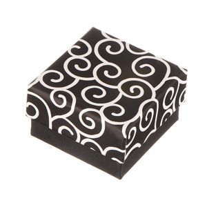 Pudełko na kolczyki - czarne, z wijącym się motywem