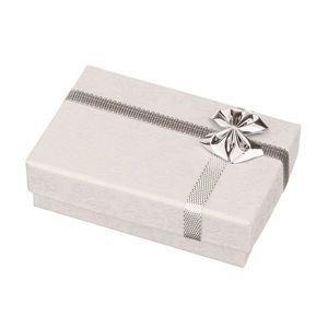 Pudełko na obrączki - białe z nadrukiem różyczek, srebrna kokarda