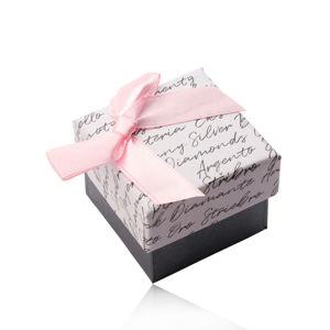Pudełko prezentowe z kokardką na kolczyki lub pierścionek - połączenie biało-antracytowe, napis