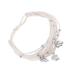 Regulowana bransoletka z białych sznurków, stalowe kuleczki i stopy