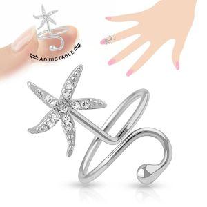 Regulowany pierścionek na paznokieć, błyszcząca rozgwiazda, lśniąca kuleczka