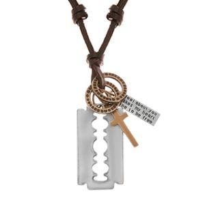 Regulowany skórzany naszyjnik, zawieszka - żyletka, krzyż, blaszka i kółka