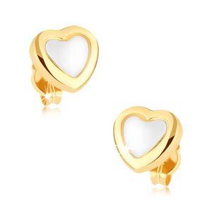 Rodowane kolczyki ze złota 9K, serce, lśniące żółte kontury, biały środek