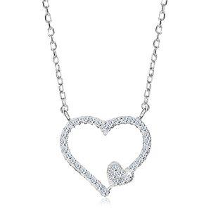Rodowany naszyjnik, srebro 925, cyrkoniowy kontur serca i małe serduszko