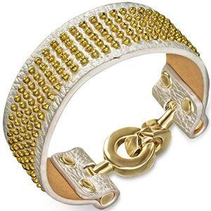 Skórzana bransoletka - srebrna ze złotymi kuleczkami i zapięciem na kółka