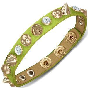 Skórzana bransoletka - zielony pasek z półkulami, szpic z cyrkoniami