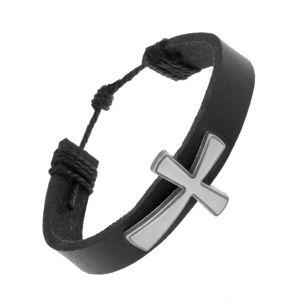 Skórzana bransoletka czarnego koloru, duży patynowany krzyż z matową powierzchnią