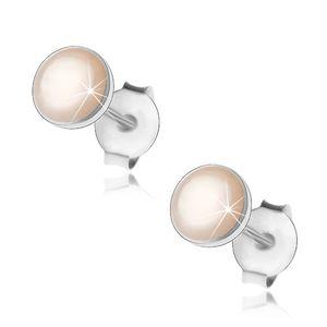Srebrne 925 kolczyki, białe perłowe kółeczko w lśniącej obwódce, wkręty