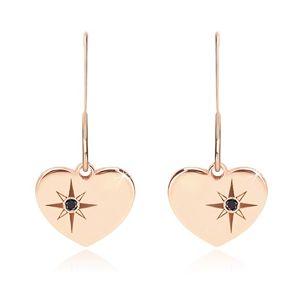 Srebrne 925 kolczyki, różowo-złoty odcień - symetryczne serce, Gwiazda Północna, czarny diament