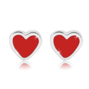 Srebrne kolczyki 925 - regularne serce z czerwoną emalią, sztyfty