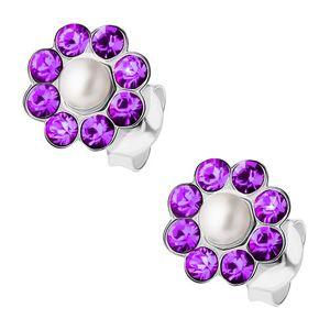 Srebrne kolczyki 925, perełka, fioletowe kryształki Preciosa - kwiatek