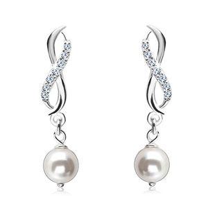 Srebrne kolczyki 925, symbol nieskończoności z dwóch fal, biała okrągła perła