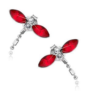 Srebrne kolczyki 925, ważki, czerwone skrzydła, kryształki Swarovski, wiszący ogon