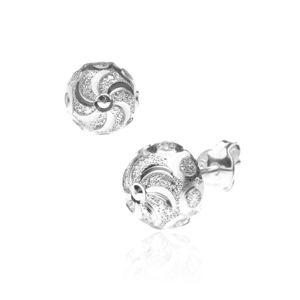 Srebrne kolczyki wkręty 925 - spirala z brokatowymi kółkami