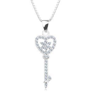 Srebrny 925 naszyjnik - łańcuszek z zawieszką, cyrkoniowy klucz - serce, kwiat