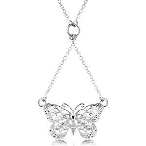 Srebrny 925 naszyjnik, łańcuszek i zawieszka - powycinany motylek