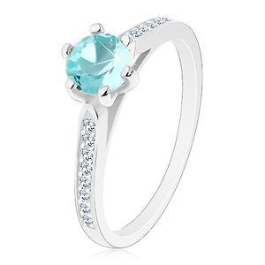 Srebrny 925 pierścionek, ramiona z przezroczystymi liniami, okrągła jasnoniebieska cyrkonia - Rozmiar : 53