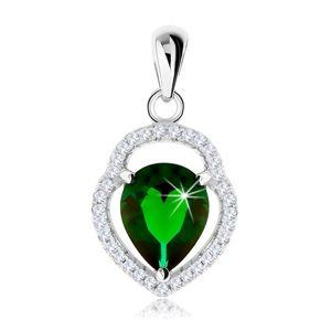 Srebrny 925 wisiorek, niesymetryczny zarys łzy, zielona cyrkoniowa łza