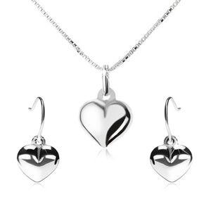 Srebrny 925 zestaw - naszyjnik i wiszące kolczyki, wypukłe serce
