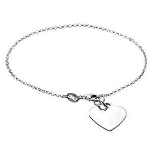 Srebrny łańcuszek 925 na rękę z płaskim sercem i zapięciem na karabinek