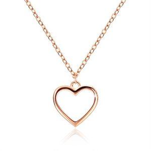 Srebrny naszyjnik 925 - regularny kontur serca, delikatny łańcuszek, kolor miedziany