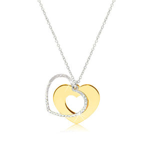Srebrny naszyjnik 925 - błyszczące serce złotego koloru z lśniącym konturem