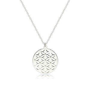 Srebrny naszyjnik 925 - błyszczący i gładki symbol kwiatu życia