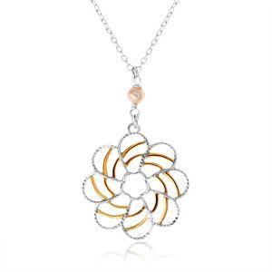 Srebrny naszyjnik 925, dekoracyjny kwiat z ornamentami złotego koloru