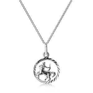 Srebrny naszyjnik 925 - łańcuszek i znak zodiaku STRZELEC