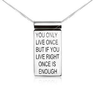 Srebrny naszyjnik 925, łańcuszek, płytka z motywacyjnym napisem