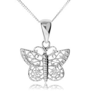 Srebrny naszyjnik 925, lśniący motyl z filigranowymi skrzydłami