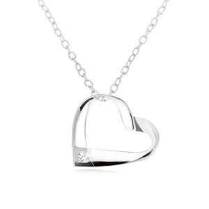 Srebrny naszyjnik 925, pasek skręcony w kontury serca, przezroczysta cyrkonia