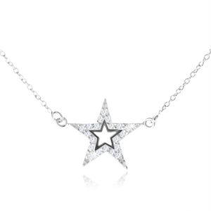 Srebrny naszyjnik 925, pięcioramienna cyrkoniowa gwiazda z wycięciem