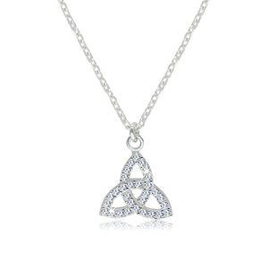 Srebrny naszyjnik 925 - przezroczysty cyrkoniowy symbol Triquetra