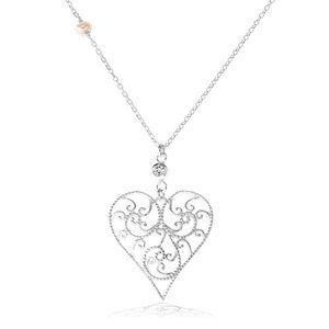 Srebrny naszyjnik 925, wypukłe serce ozdobione ażurowym wzorem, przezroczysta cyrkonia