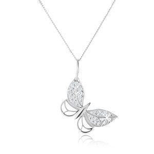 Srebrny naszyjnik 925, zarys motyla, cyrkoniowe zdobienie, regulowany