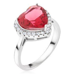 Srebrny pierścionek 925 - duży czerwony kamień serce, cyrkoniowa obwódka - Rozmiar : 56