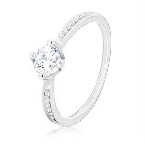 Srebrny pierścionek 925 - błyszcząca okrągła cyrkonia, wycięcia z małymi cyrkoniami - Rozmiar : 65