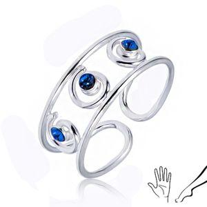 Srebrny pierścionek 925 na rękę lub nogę, trzy niebieskie cyrkonie w spiralkach