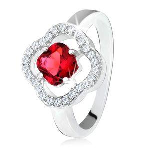 Srebrny pierścionek 925, oszlifowany czerwony kamień, przeźroczyste cyrkonie, kwiat - Rozmiar : 59